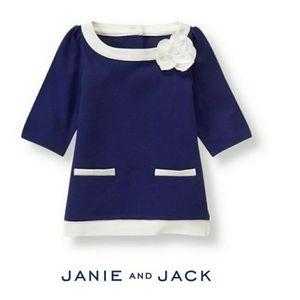 Janie & Jack Navy Tipped Blossom Tunic Sz 3-6M